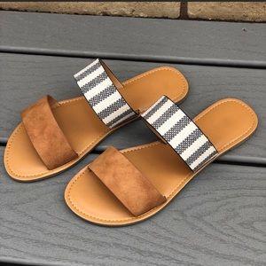 Shoes - Double Strap Striped Sandals